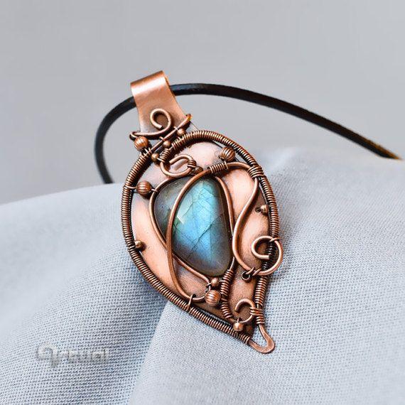 Wire wrapped jewelry Labradorite necklace wire jewelry by Artual