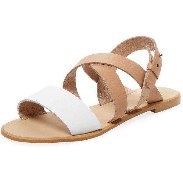 Renvy Women's Strappy Leather Sandal - Cream/Tan, Size 10 ($69) ❤ liked on Polyvore featuring shoes, sandals, tan leather sandals, ankle strap sandals, strappy leather sandals, strappy heeled sandals and leather flats