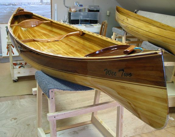 Wee Vera And Two Wood Strip Double Paddle Canoes