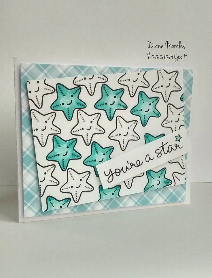 Lawn Fawn So Jelly; starfish; star; plaid; repeat stamping; blues; teal; aqua; congrats; congratulations