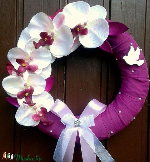 Orchideás kopogtató (27 cm) (pinkrose) - Meska.hu