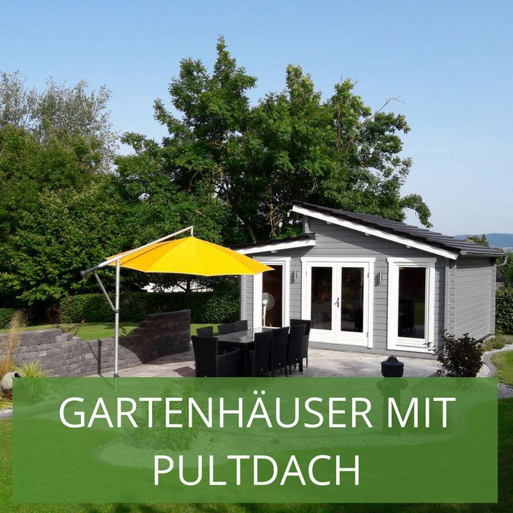 Das Pultdach auf dem Gartenhaus wird immer beliebter: Einseitig abgeschrägt wie ein Stehpult kann das Regenwasser gut ablaufen.