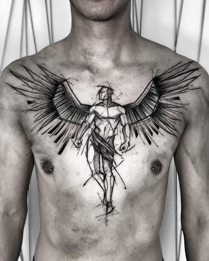 Angel Chest Tattoo : angel, chest, tattoo, Chest, Tattoos, [5000+, Designs], Women, Tattoo, Tattoos,, Wings