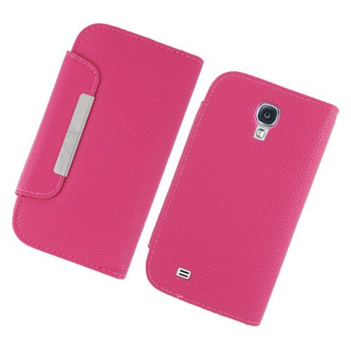 Pink Flip Leather Case Cover Wallet w/ Stand Samsung Galaxy S4 i9500 #UnbrandedGeneric 9.99$ Free Shipping