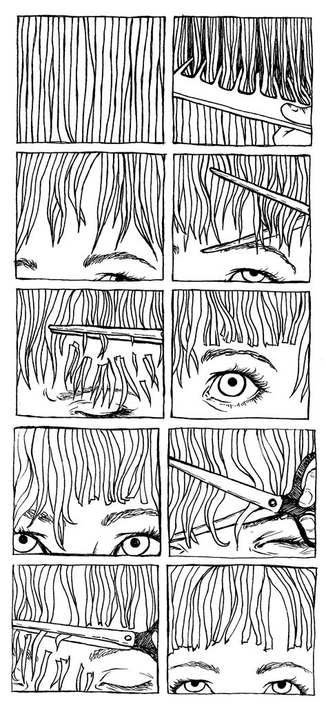 RIDDA / Graphic Design -  Another interesting Graphic Sequence visual comprises of a slow transition and close up shots of the cutting of a girls fringe (hair). It is odd to interpret in the first few boxes however the use of scissors helps the audience to understand.