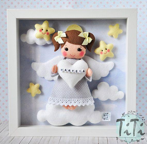 Baby Decorative Frame, Child Frame Decoration with Guardian Angel, Personalised Felt box Frame, Personalized Nursery Decor,felt Angel clouds