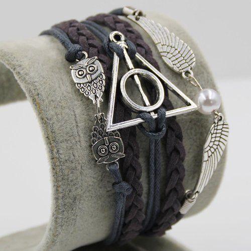 D'amelie Harry Potter Eule Armband Heiligtümer des Todes - mit Schnatz (Snitch) und Schleiereulen, versilbert - Deathly Hallows & Flügel Eule, - Gothic, Punk Fashion: Amazon.de: Schmuck