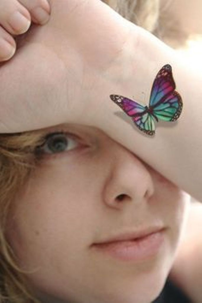 Colorful Butterfly Tattoo On Wrist