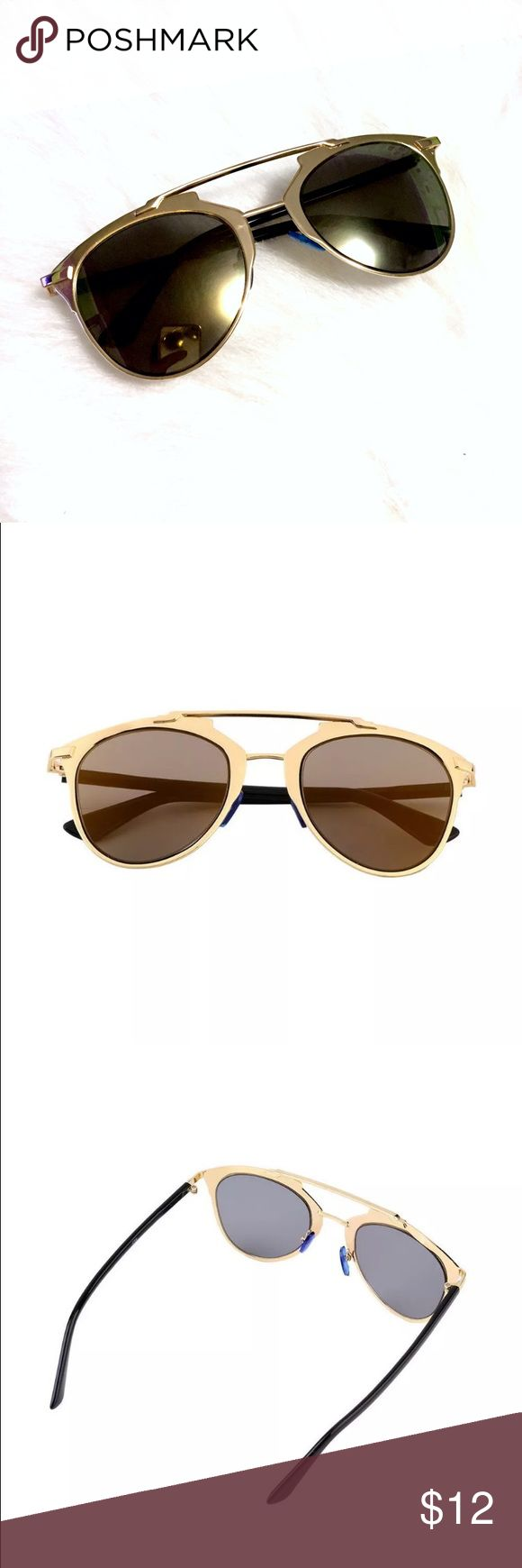 Gold & Dark Brown Mirror Cat Eye Sunglasses  Gold & Dark Brown Cat Eye Sunglasses, brand new. Gold trim frames and hinges with dark brown mirror lenses. Black temple and temple tips. Price is firm if purchased alone. ❣Discount applied if bundled with other items from my closet. Accessories Sunglasses