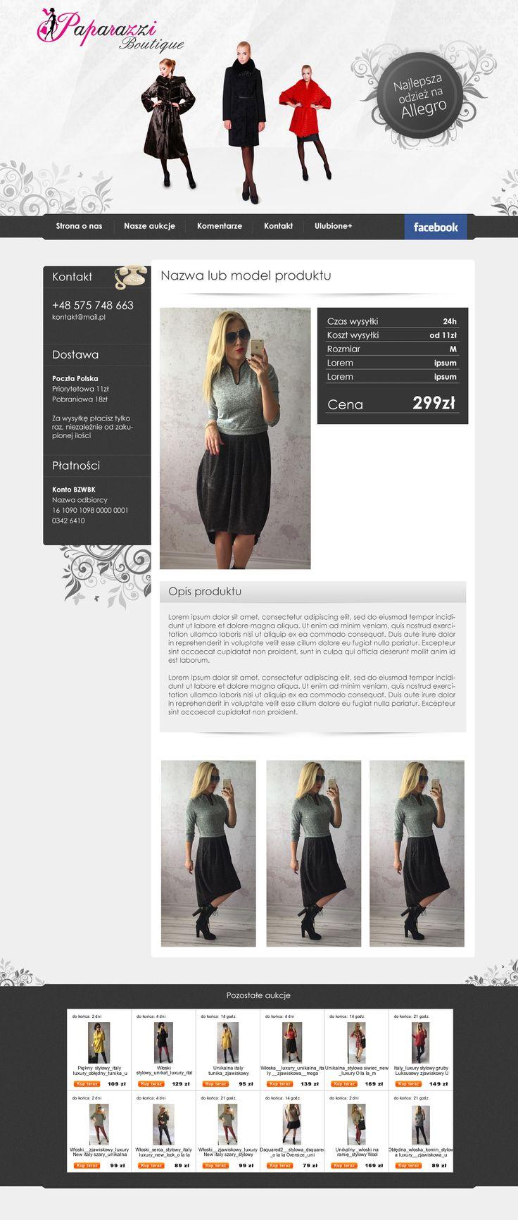 Szablon aukcyjny dla firmy Paparazzi sprzedającej ubrania damskie na Allegro. #szablonallegro #odziezdamska #allegro #allegrodesign