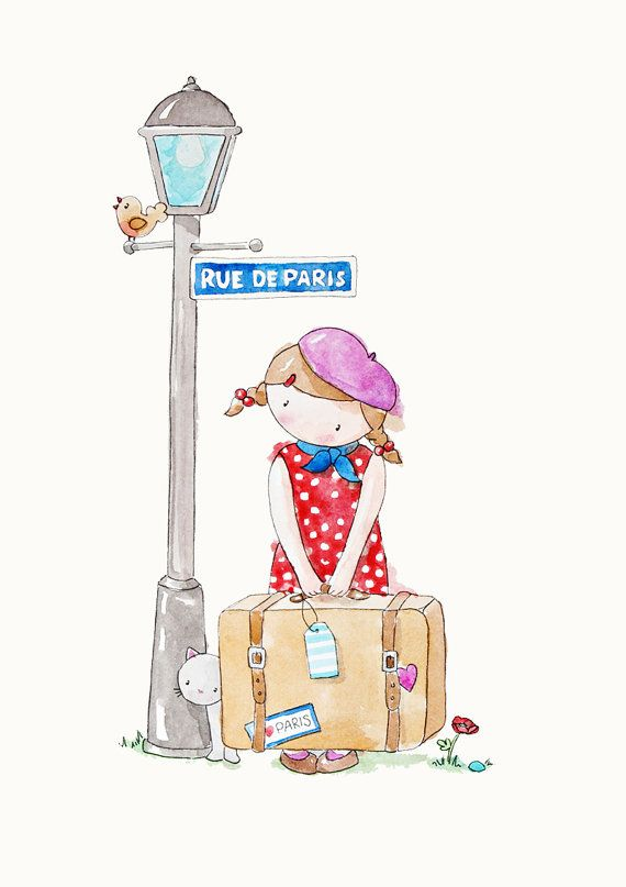 Poppy on the Corner French Nursery Art Watercolour Print on Etsy, $18.00 AUD