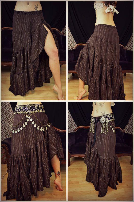 Madalene Twist Ruffle Skirt Flamenco Bellydance por theverdantmuse