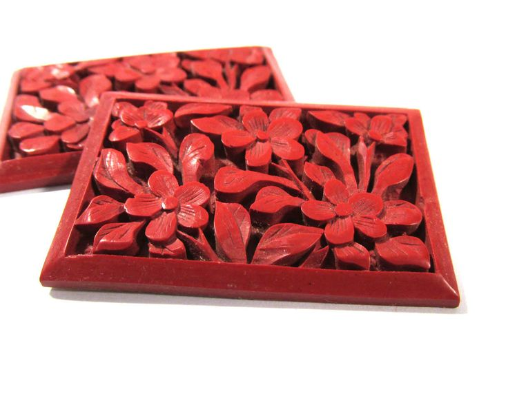 Real Cinnabar Cabs CARVED Cabochons Two (2) Cinnabar Cabochons Flowers Red 29mm x 45mm Vintage Jewelry Mosaic Supplies (L307) by punksrus on Etsy