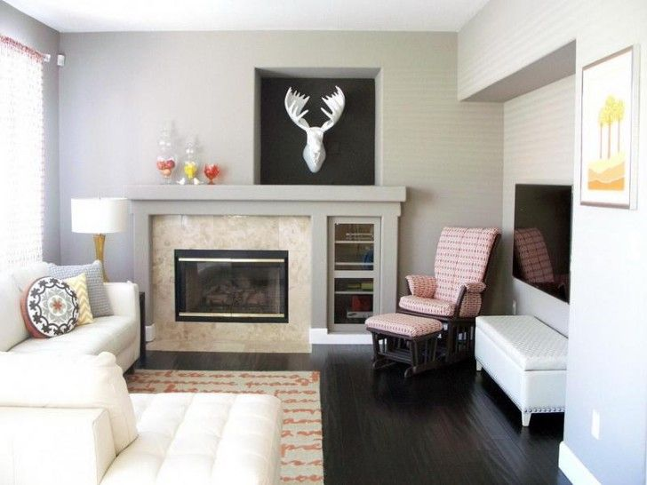 Decoration the fine white living room an l shaped sofa single red chair in a corner of a living - Designing a living room online or virtually ...