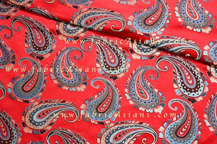 Tissu paisley rouge. Vendu par 50cm. SBR100012 : Tissus Ameublement par fabricasians