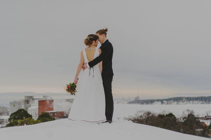 Winter wedding portrait.