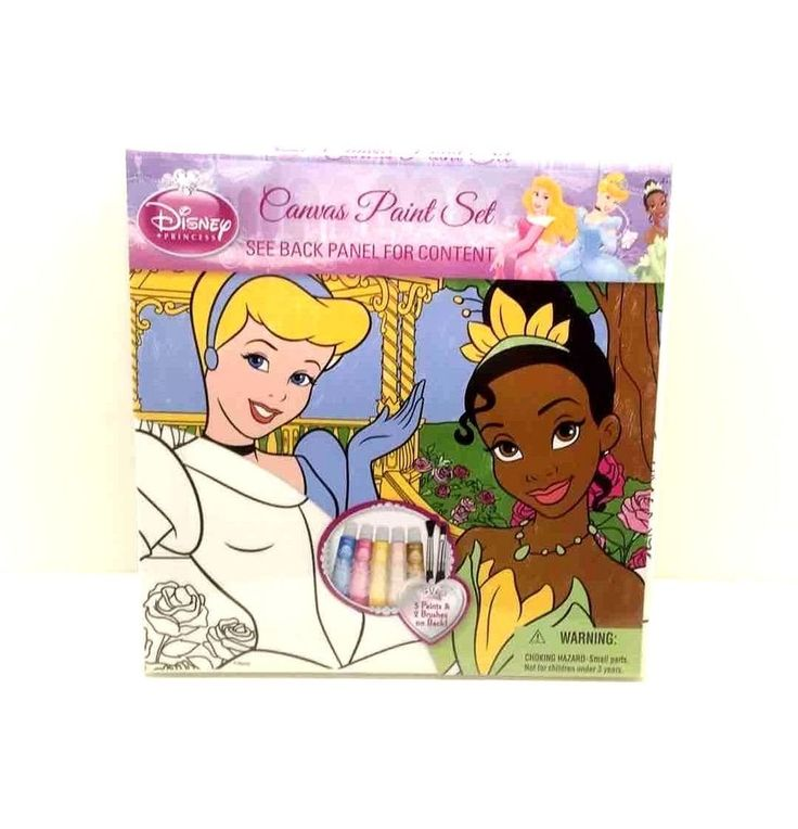 Disney Princess Canvas Paint Set 10x10 Canvas & 5 Paints NIP #Disney