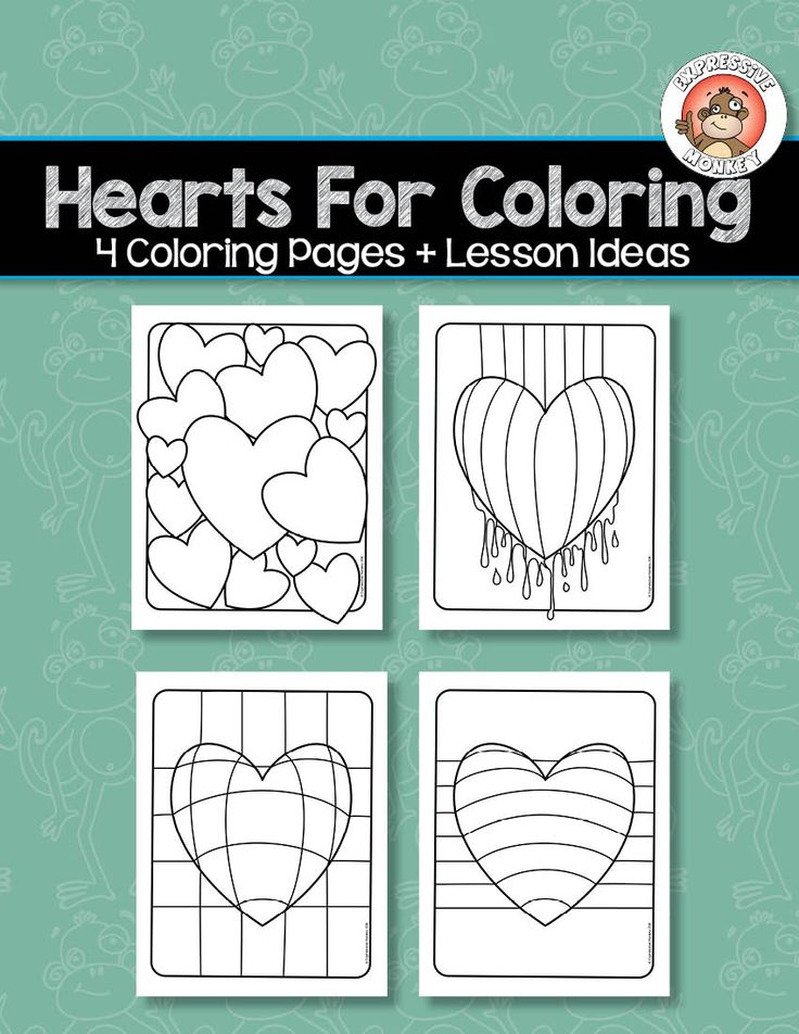 FREE heart coloring pages by Expressive Monkey.  Use these coloring pages to teach about color, or just color them in as a way to relax.  Lesson ideas are included.