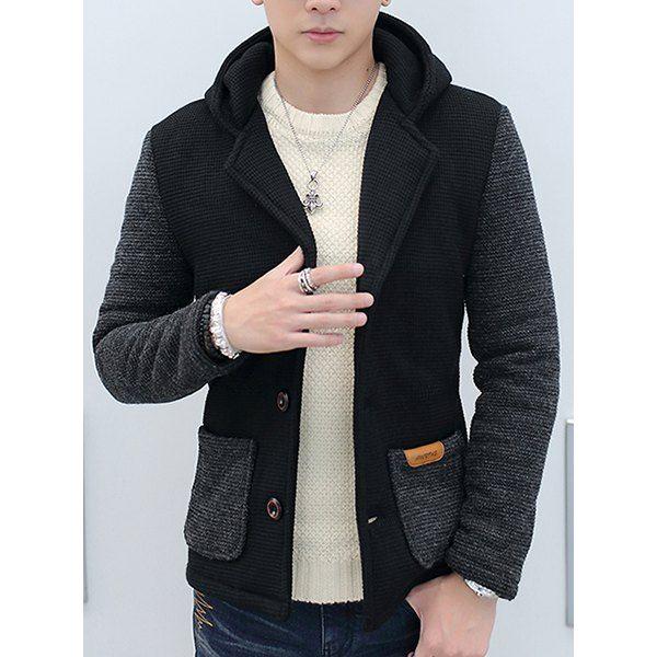 Slimming Hooded Stereo Pocket PU Leather Spliced Hit Color Long Sleeves Men's Woolen Blend Jacket