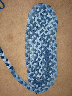 Repurpose jeans into a rug  Growing up my grandparents alway had braided rugs, they were really durable especially with their dogs.