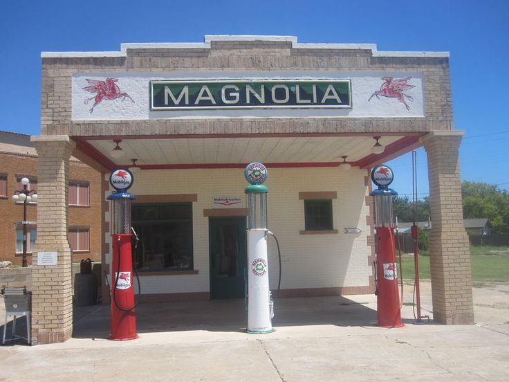 Restored Magnolia gasoline station museum on Route 66 in Shamrock in Wheeler County, Texas