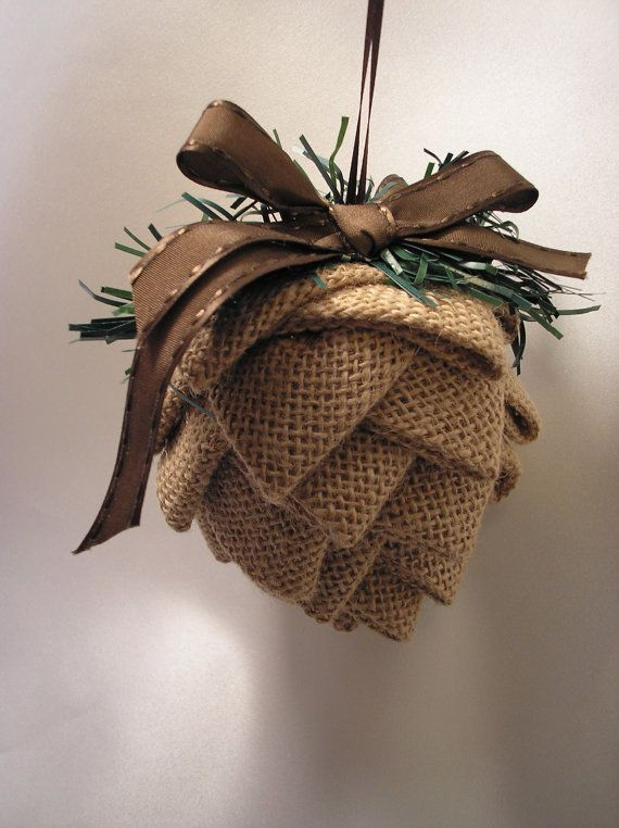 Medium Fabric Pinecone Ornament, Burlap Ornament, Brown Ornament, Country Decor, Rustic Ornament, Primitive Ornament, Nature Ornament