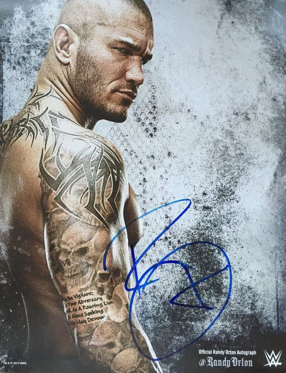 HAND SIGNED randy orton official wwe poster by TOYSANDMASKSCOM