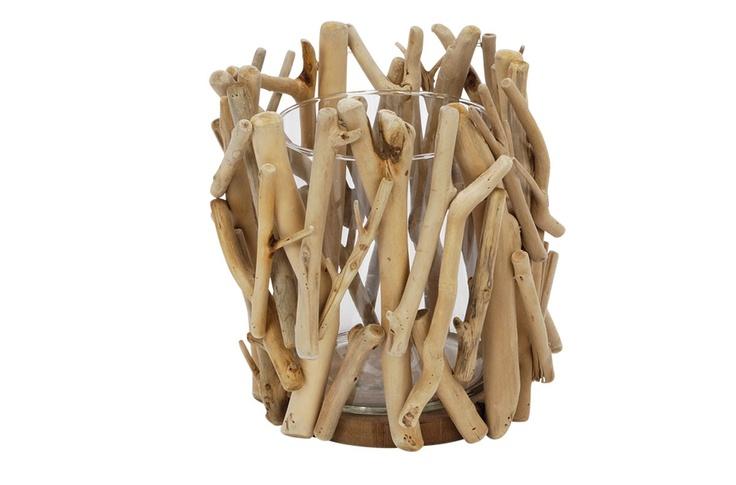 Glazen kaars standaard met omhulsel van hout