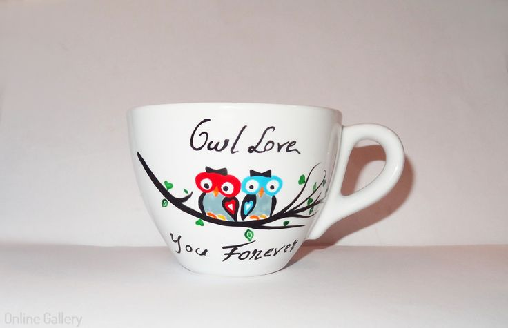 #handmade #painted #mug #cup - Qwl love you forever. #Owl #love Ceasca pictata – Bufnite indragostite