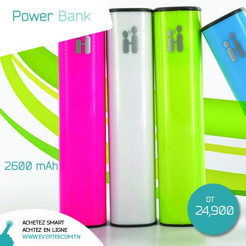 Grâce à cette batterie externe, augmentez l'autonomie de votre smartphone jusqu'à une fois et demi : (2600 mAh ) Couleurs disponibles : Bleu, Rose, Blanc, vert