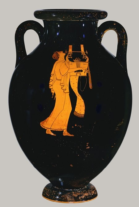 Amphora, ca. 490 B.C.; Classical; red-figure Attributed to the Berlin Painter Greek, Attic Terracotta