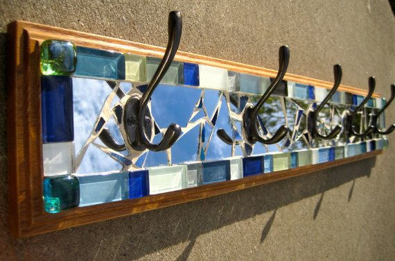 5 hook mosaic coat rack  6 x 36 by JustLookAtYourself on Etsy