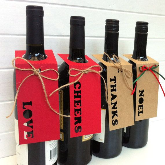 Wine Bottle Tags gift labels. Christmas Weddings by MyPaperPlanet Die cut and emboss