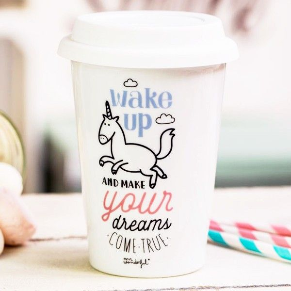 "Mr Wonderful Mug take away licorne ""Wake up"""