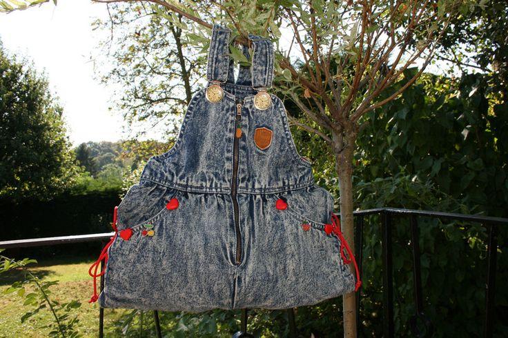Handtaschen - Kindertasche blau, Jeans, Herzen, Früchte - ein Designerstück von Angelas_Kreativwelt bei DaWanda