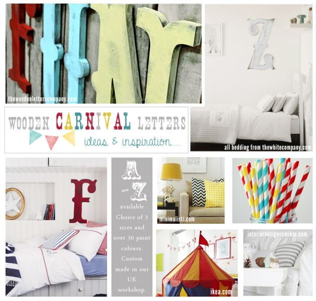 carnival circus large vintage style wooden letters mood board