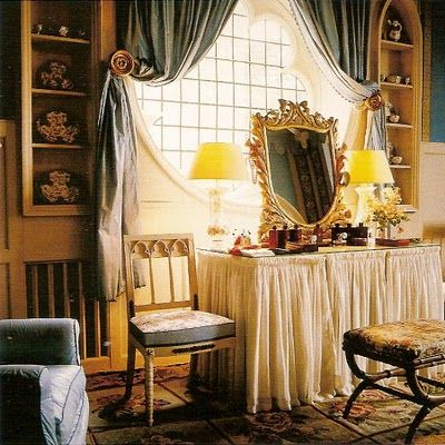 Designer Nancy Lancaster added a dressing table in her bathroom, I love the window and the drapery, photography by Horst P. Horst As P Gaye Tapp little augury pointed out, this looks like it belongs in Rebecca De Winter's suite. Picture of Elegance Blog: A Lady's Private Space