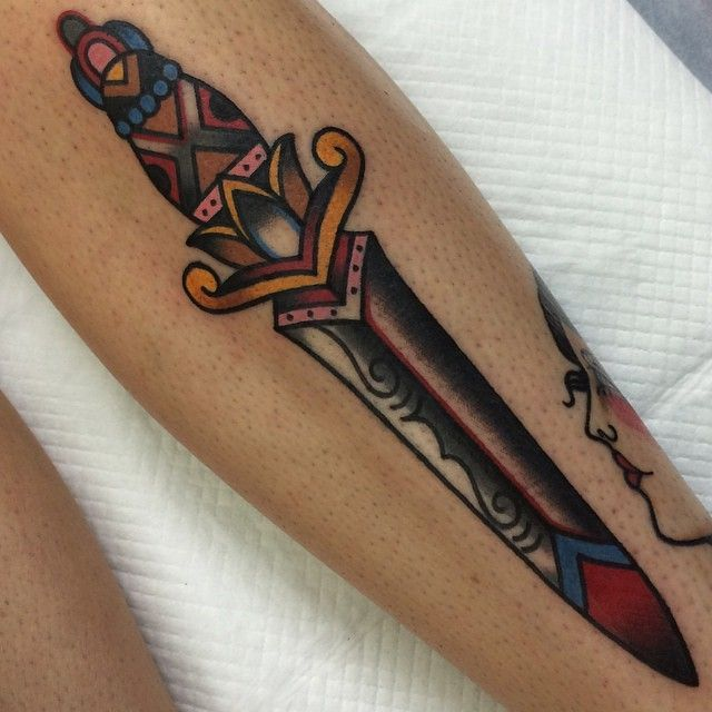 traditional dagger tattoo by Elizabeth Huxley May