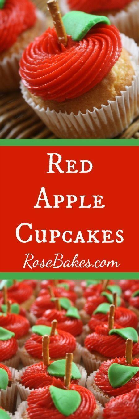 Red Apple Cupcakes | RoseBakes.com | Teacher Appreciation idea!