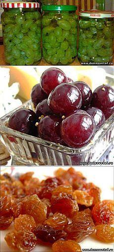 Виноград. Консервация из винограда. Сушеный виноград