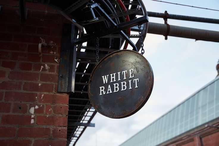 White Rabbit Brewery - Steel Swing Sign. Design by Foolscap Studio.