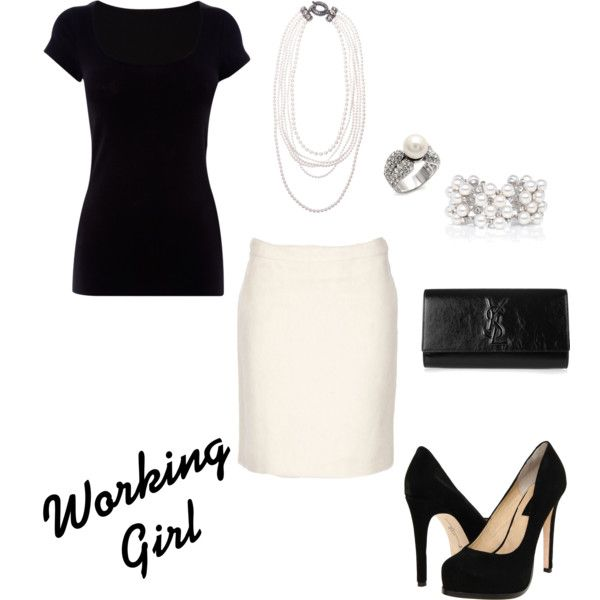Wear this to the office and WOW everyone. Is this not timeless and chic all in one? Class act.: Work Clothing, Work Girls, Fashion Ideas, Black And White, Fashionista Trends, Black White, Pencil Skirts, Work Outfits, White Skirts