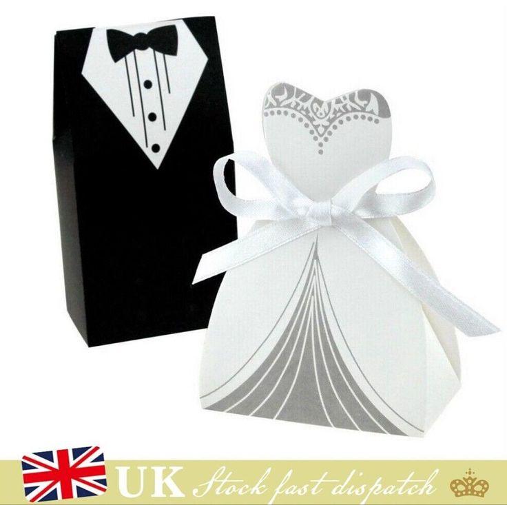 100 PCS DRESS & TUXEDO BRIDE GROOM WEDDING FAVOR RIBBON CANDY BOMBONIERE BOXES