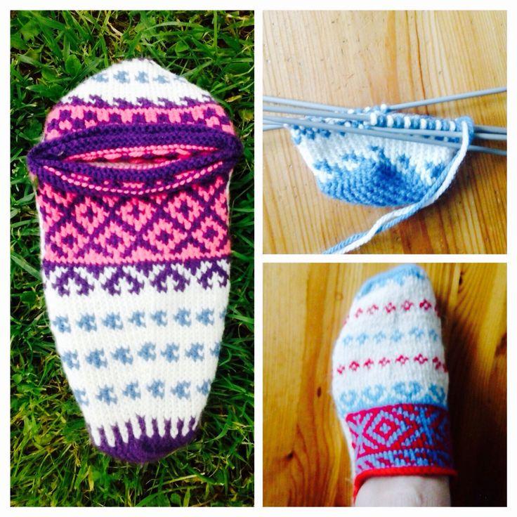 Šarene priglavke. Hand-knitted Bosnian slippers.