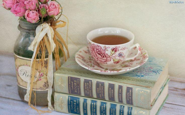 Książki, Herbata, Filiżanka Bukiet, Róże