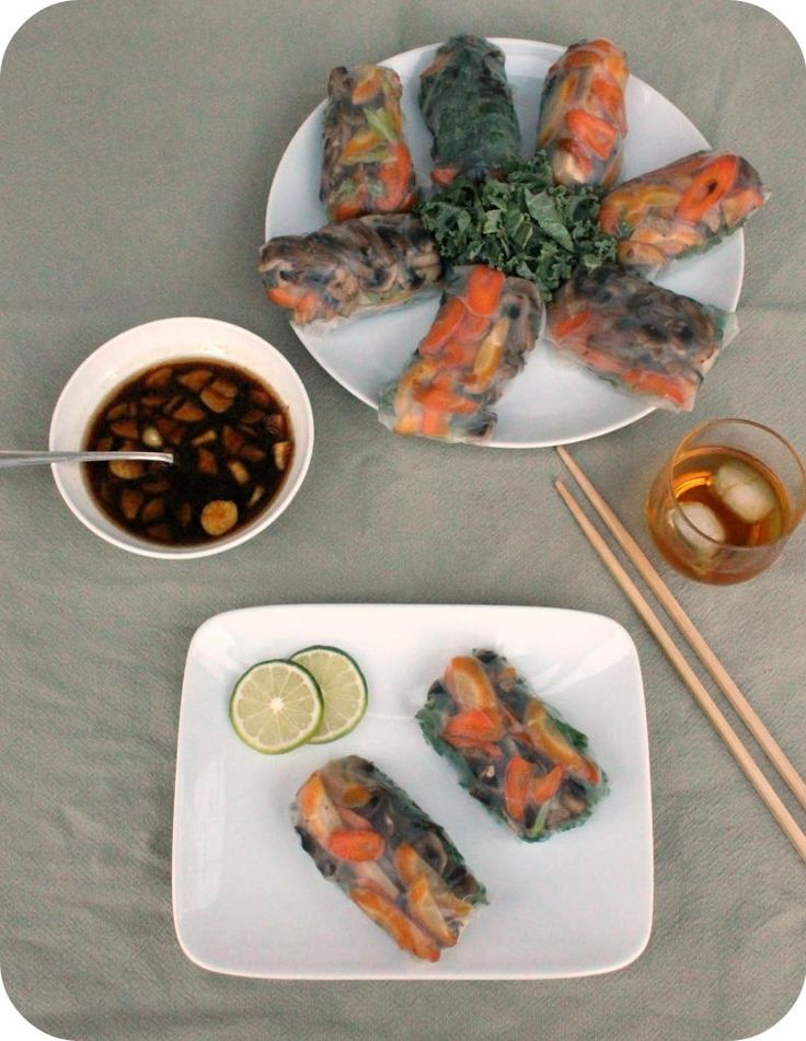 Vegetable Spring Rolls with Sesame Ginger Dipping Sauce