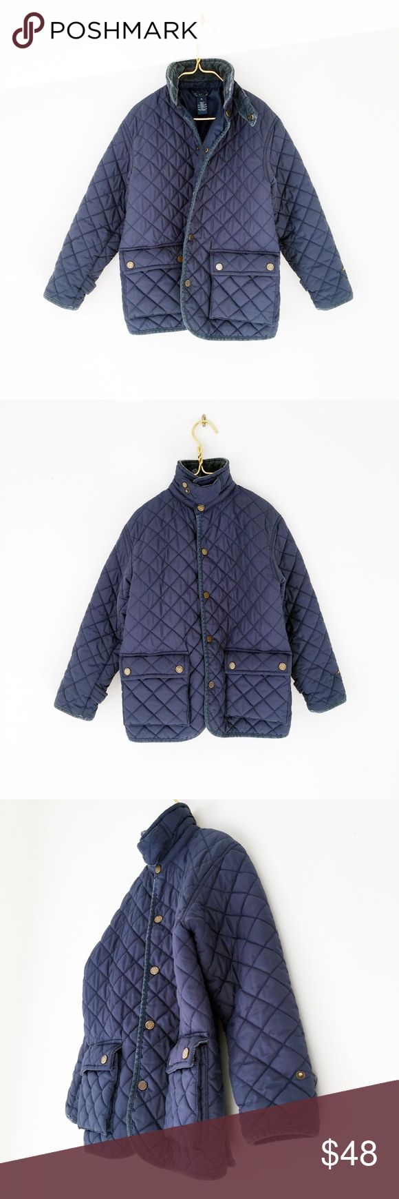 "RALPH LAUREN QUILTED puffer navy barn jacket 4 POLO RALPH LAUREN  classic. soft, plush  puffy quilt. quality weight construction. snaps closure.   excellent, pet/smoke free.  bottom snap has a tiny tarnished spot.  laid flat, seam - seam: chest: 16.5"" shoulders: 15"" nape to hem: 21"" shoulder to cuff: 17.5""  coat warm winter fall riding equestrian preppy ivy university college league golf navy dark utility Polo by Ralph Lauren Jackets & Coats"