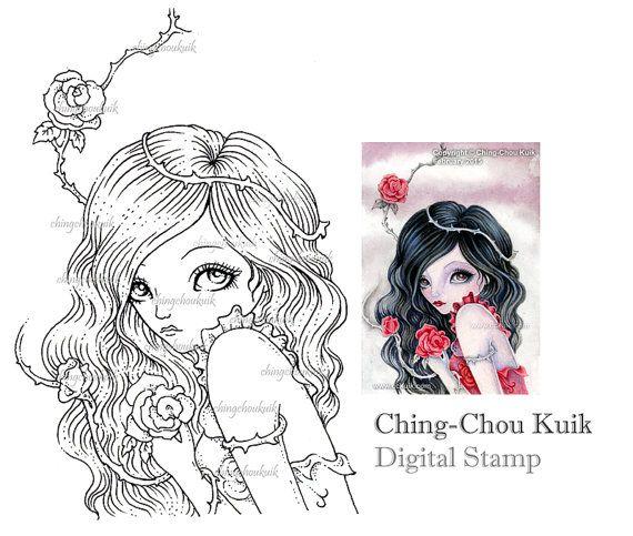 Rosa con spine - Download immediato di timbro digitale / ragazza fata rosa spina di Ching-Chou Kuik