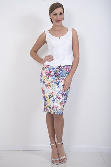 Jardin Skirt – A fitted poly lace skirt which could be dressed down with coloured knits.