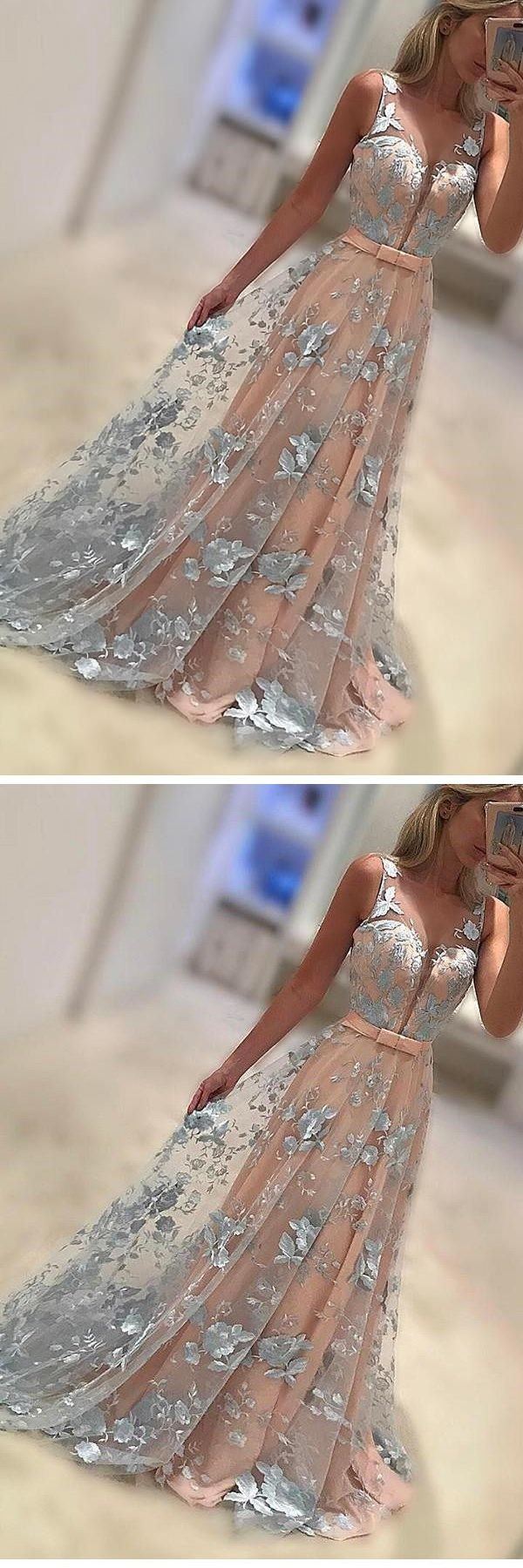 Coral A-Line Sleeveless Prom Gown Lace Appliques Sweep Train Evening Dress with Bowknot #prom #dresses #longpromdress #promdress #eveningdress #promdresses #partydresses